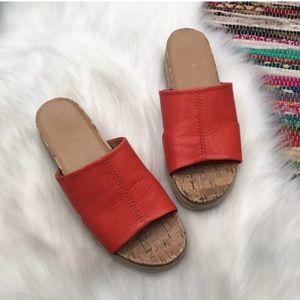 Franco Sarto Envy Slide Sandals 10 M Red Leather